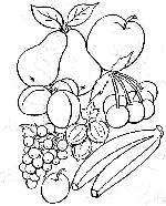 corbeille de fruits coloriage de corbeille de fruits sur