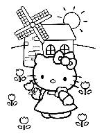 Hello kitty devant moulin